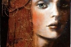 il turbante rosso 37x74 olio dorature e smalti su tavola antica 450