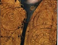la fata dei sogni perduti 30x90 olio dorature su legno
