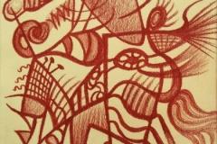 LINEE DI FORZA INCANTO ,sanguigna su carta, 32x42 cm