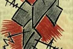 LINEE DI FORZA INCASTRO ,carboncino + sanguigna su carta, 32x42 cm