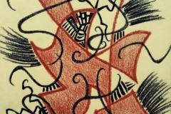 LINEE DI FORZA INCONTRO ,carboncino + sanguigna su carta, 32x42 cm