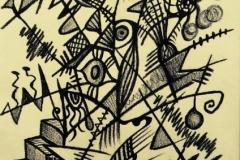 LINEE DI FORZA INTRICO .carboncino su carta,32 cm x 42 cm