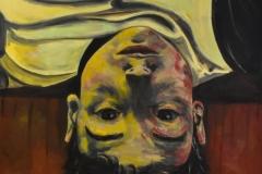 HNBraco, Kopf nach unten, oil on canvas, 80x80 cm