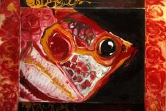 Rosso-pesce_Smalti-su-tela-e-legno_81-5x63