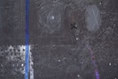 Absraction with BlueLine. Acryl, collage on canvas, 70x100cm