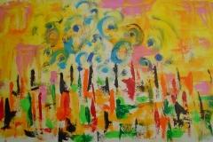 Tramonto con nebbia a Venezia 2, 55x100 cm, tecnica olio su tela, sunset with fog in Venice 2, te