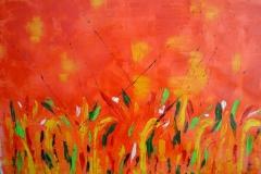 Tramonto su un campo di grano 3, 50x70 cm, tecnica olio su tela year 2008, sunset on a field of w