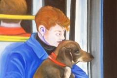 Con il cane in metro a Parigi,60x90 cm, oil painting on canvas